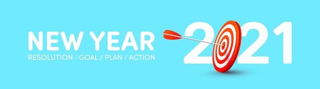 Banner di risoluzione del nuovo anno 2021 con bersaglio di tiro con l'arco rosso e arciere di frecce. obiettivi, piani e azioni per il nuovo anno 2021 concept
