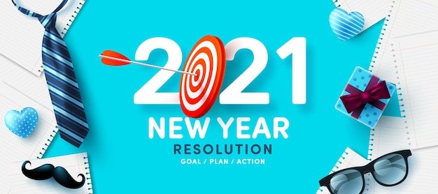 Risoluzione per il nuovo anno 2021 e obiettivo con bersaglio rosso per tiro con l'arco e frecce arciere obiettivi, piani e azioni per il nuovo anno 2021 concept