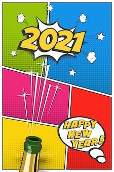 Modello di biglietto di auguri verticale di capodanno 2021, design retrò festivo in stile fumetto con bottiglia di champagne e sughero volante.