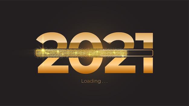 Anno nuovo 2021 con barra di avanzamento del caricamento brillante brillante, glitter dorati e scintillii