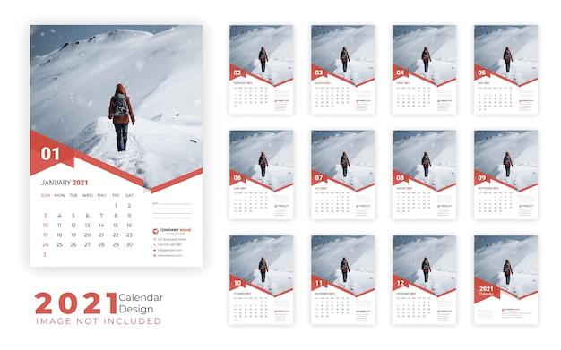 Modello di progettazione del calendario da parete 2021