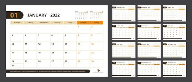Pianificatore del calendario 2022 impostato per l'inizio della settimana del design aziendale del modello lunedì.