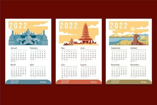 Modello di progettazione del calendario da tavolo 2022 con illustrazione dell'indonesia