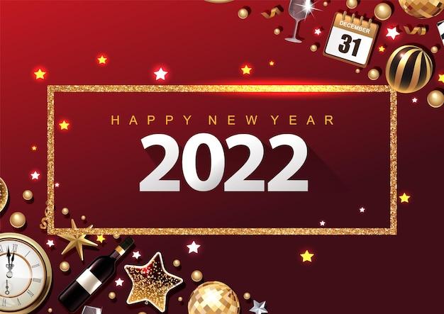2022 felice anno nuovo 3d fiocco dorato metallico con cornice stelle e numeri bianchi su sfondo nero