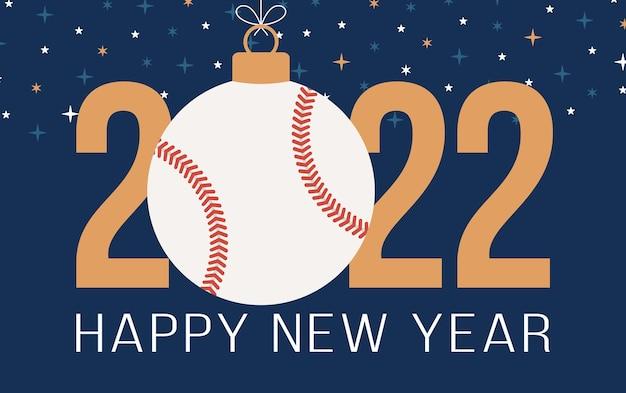 2022 felice anno nuovo baseball illustrazione vettoriale. biglietto di auguri per lo sport 2022 in stile piatto con una palla da baseball sullo sfondo colorato. illustrazione vettoriale.