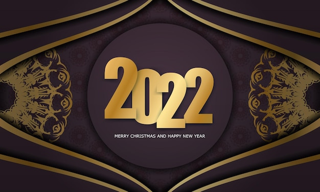 2022 felice anno nuovo modello di volantino color bordeaux con ornamento d'oro invernale
