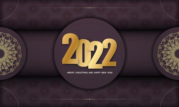 2022 felice anno nuovo modello di volantino color bordeaux con motivo oro invernale