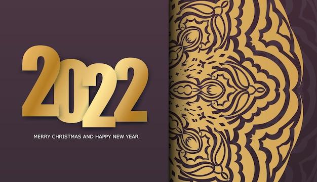 2022 felice anno nuovo volantino per le vacanze bordeaux con ornamenti d'oro di lusso