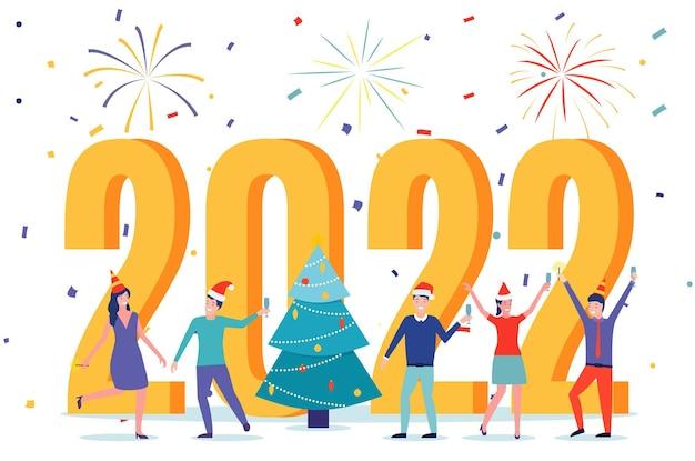Biglietto da visita di felice anno nuovo 2022. gente felice in cappello della santa che tosta champagne con i coriandoli. illustrazione vettoriale in stile piatto
