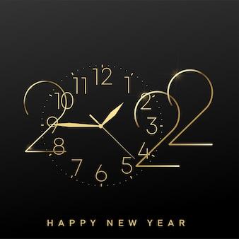 Carta di felice anno nuovo 2022 con orologio vintage dorato. vettore.
