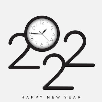 Carta di felice anno nuovo 2022 con orologio vintage. vettore