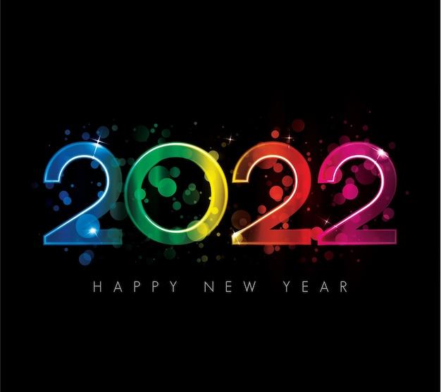 2022 felice anno nuovo design di biglietti di auguri di lusso colorati