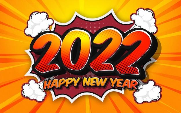 Banner di design in stile fumetto di felice anno nuovo 2022