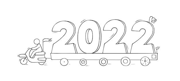 2022 felice anno nuovo concetto con le automobili. vettore disegnato a mano per il disegno di natale.