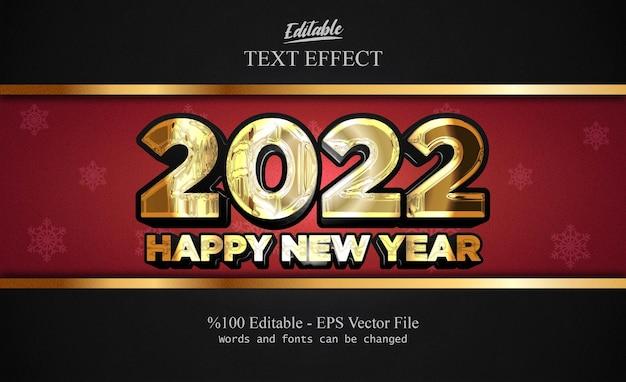 2022 felice anno nuovo effetto testo modificabile con sfondo dorato fantasia