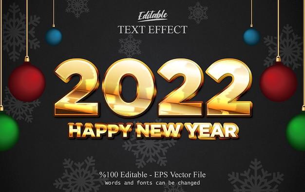 2022 felice anno nuovo effetto testo modificabile