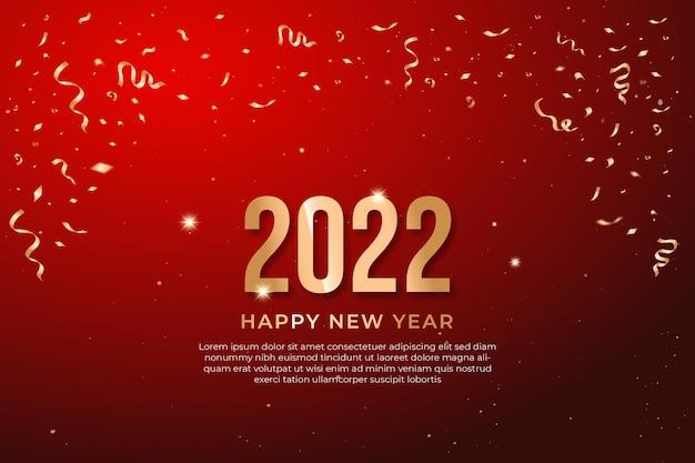 2022 felice anno nuovo elegante segno con numeri d'oro su sfondo rosso. testo di lusso vettoriale 2022 capodanno