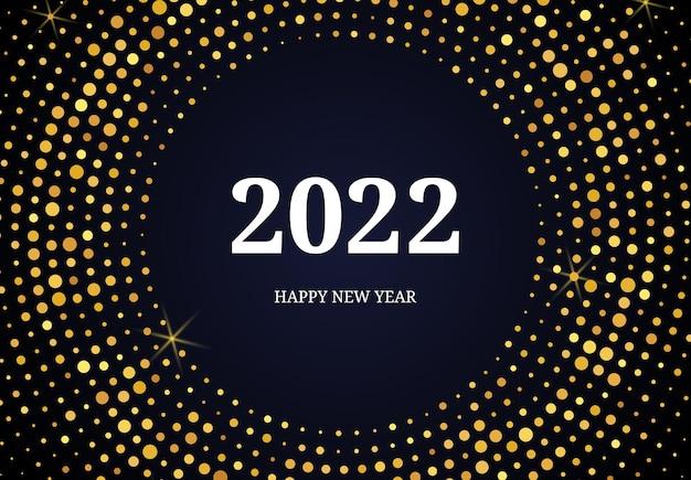 2022 felice anno nuovo con motivo glitter oro a forma di cerchio. fondo punteggiato di semitono d'ardore astratto dell'oro per la cartolina d'auguri di festa di natale su fondo scuro. illustrazione vettoriale