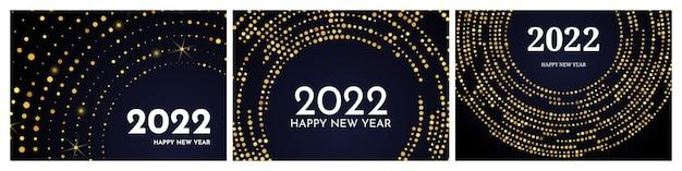 2022 felice anno nuovo con motivo glitter oro a forma di cerchio. set di tre sfondi punteggiati di mezzitoni d'ardore astratti dell'oro per la cartolina d'auguri di festa di natale su sfondo scuro. illustrazione vettoriale