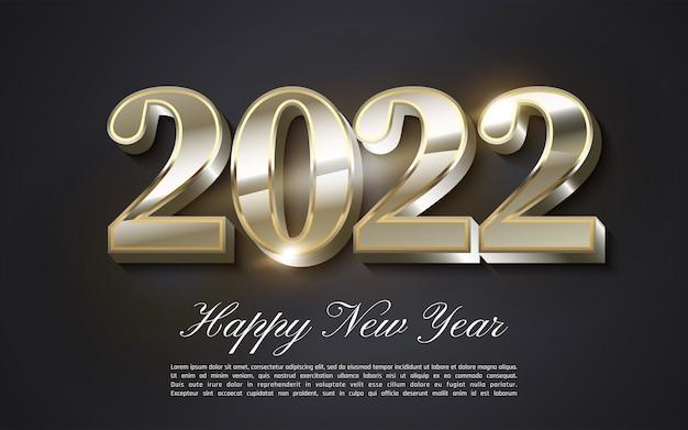 Biglietto di auguri di felice anno nuovo 2022 in colore rosa tenue - scritte 2022 su sfondo rosa - vettore illustrator