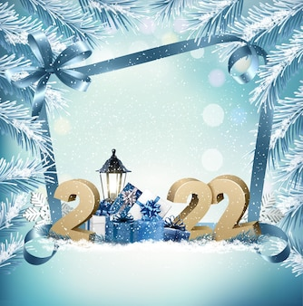 2022 felice anno nuovo e buon natale vacanza sfondo e scatole regalo e ramo di albero vector