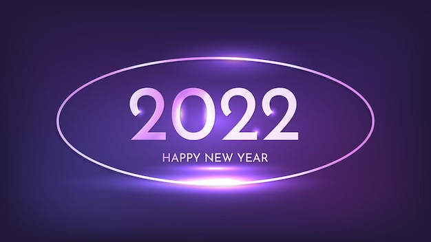 Sfondo al neon di felice anno nuovo 2022. cornice ovale al neon con effetti brillanti per biglietti di auguri natalizi, volantini o poster. illustrazione vettoriale