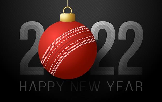 2022 felice anno nuovo. biglietto di auguri sportivo con palla da cricket sullo sfondo di lusso. illustrazione vettoriale.
