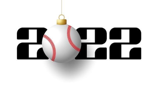 2022 felice anno nuovo. biglietto di auguri sportivo con palla da baseball dorata sullo sfondo di lusso. illustrazione vettoriale.