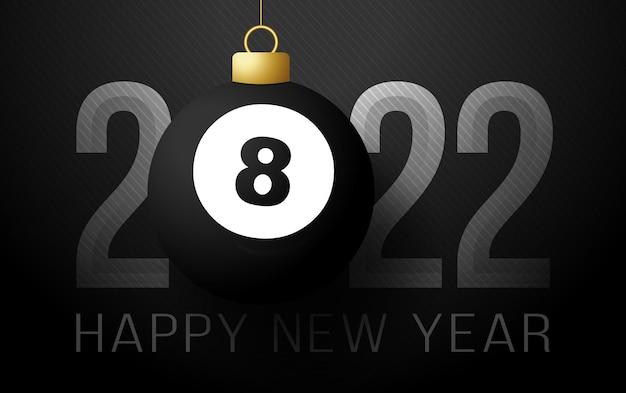 2022 felice anno nuovo. biglietto di auguri sportivo con palla da biliardo 8 dorata sullo sfondo di lusso. illustrazione vettoriale.