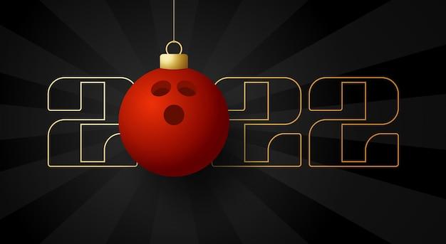 2022 felice anno nuovo. biglietto di auguri sportivo con palla da bowling dorata sullo sfondo di lusso. illustrazione vettoriale.