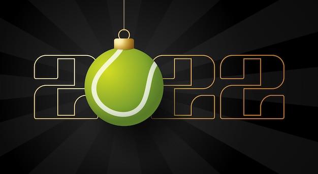 2022 felice anno nuovo. biglietto di auguri sportivo con pallina da tennis dorata sullo sfondo di lusso. illustrazione vettoriale.