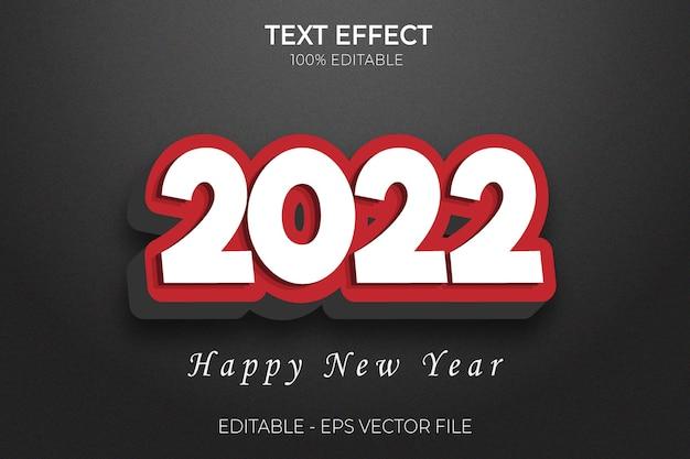 2022 felice anno nuovo effetto testo vettore creativo 3d modificabile in grassetto stile premium