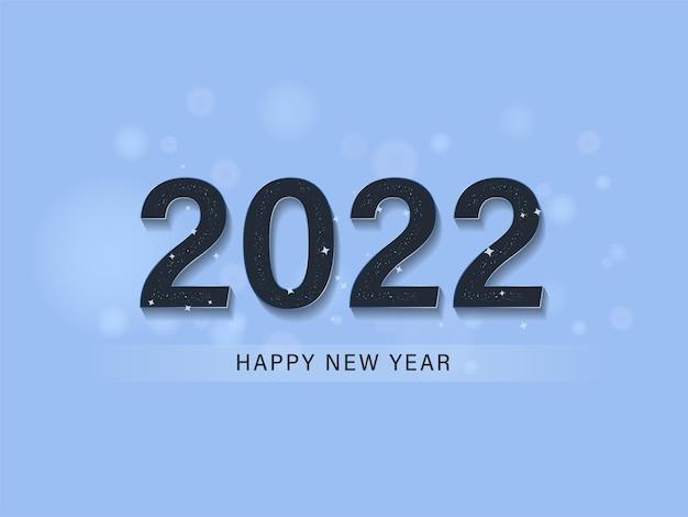 Testo di felice anno nuovo 2022 con stelle su sfondo blu.