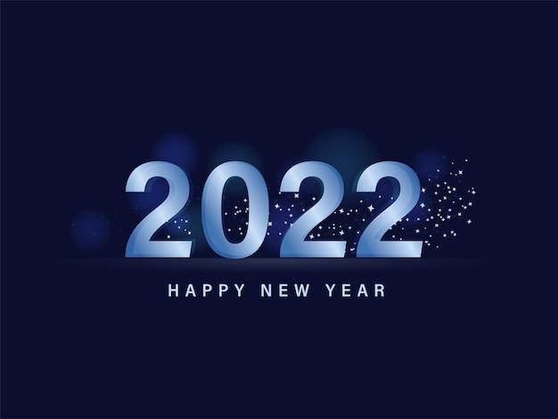 Testo di felice anno nuovo 2022 con stelle decorate su sfondo blu.