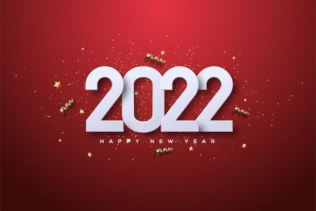 2022 felice anno nuovo con numeri 3d e nastro d'oro di lusso