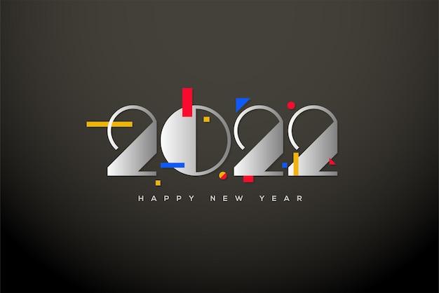 2022 felice anno nuovo con numeri d'argento classici di lusso