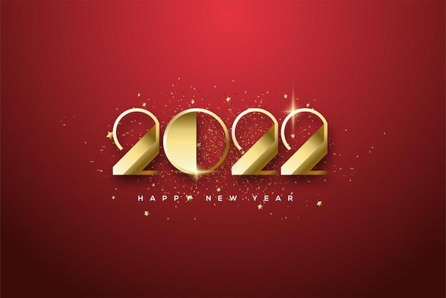 2022 felice anno nuovo con numeri classici d'oro di lusso