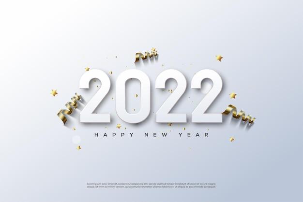 2022 felice anno nuovo con numeri e nastro su sfondo bianco