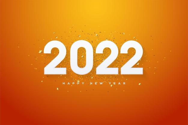 2022 felice anno nuovo con numeri bianchi su sfondo arancione