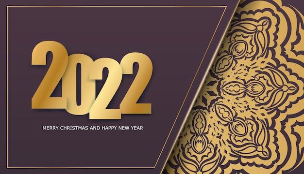Volantino per le vacanze 2022 buon natale color bordeaux con ornamenti d'oro di lusso