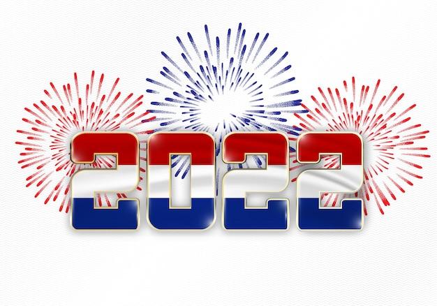 Sfondo del nuovo anno 2022 con bandiera nazionale dei paesi bassi e fuochi d'artificio