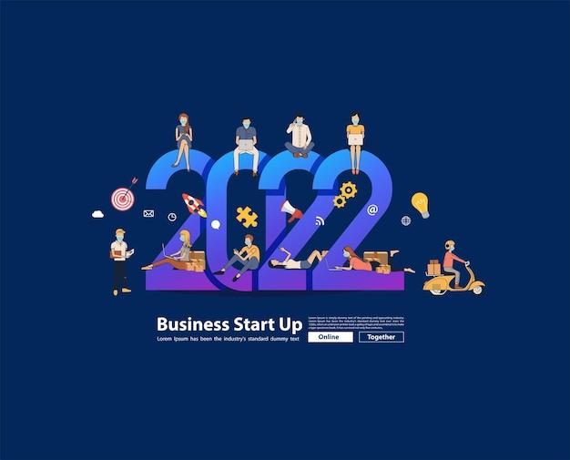 2022 nuovo anno uomini d'affari che lavorano insieme vendendo idee online concetto, modello di layout moderno illustrazione vettoriale