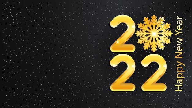 2022 anno nuovo e sfondo natalizio con numeri brillanti dorati e fiocco di neve. lussuosa illustrazione vettoriale elegante.