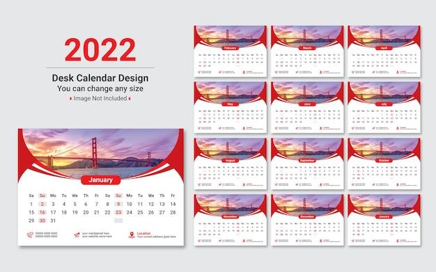 2022 capodanno modello di progettazione di calendario da tavolo creativo colorato vettore premium.