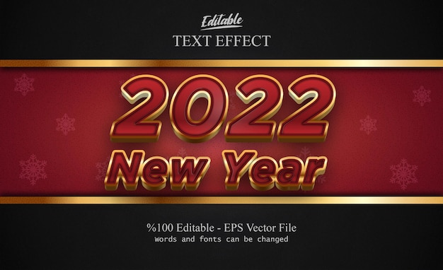 Effetto di testo modificabile del nuovo anno 2022 con sfondo fantasia