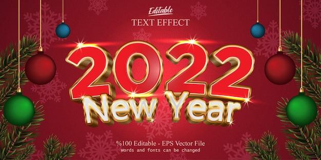 Effetto di testo modificabile del nuovo anno 2022 con sfondo rosso fantasia