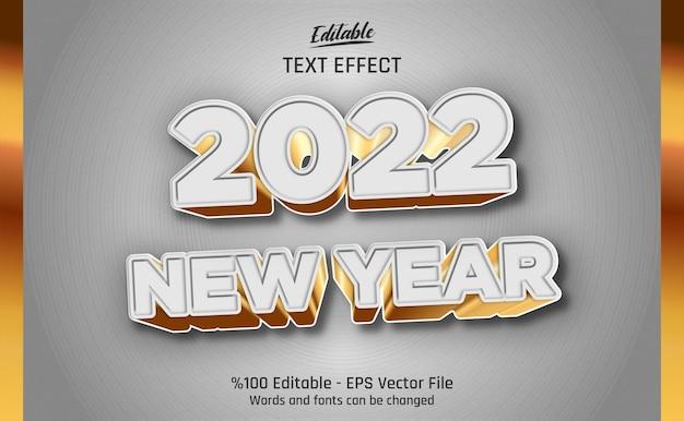 Effetto di testo modificabile del nuovo anno 2022