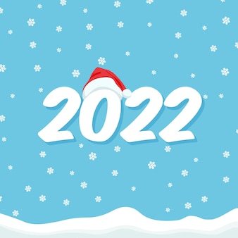 2022 capodanno con cappello da babbo natale sul numero banner modello di natale sfondo di neve con cumuli di neve