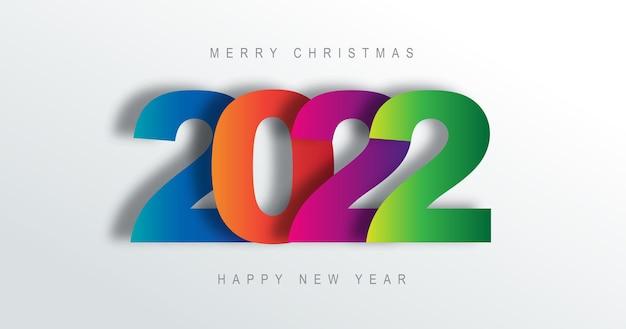 2022 numero carta arte testo design felice anno nuovo e buon natale
