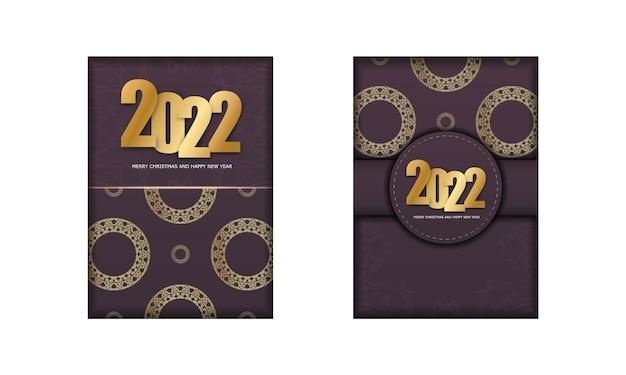 2022 cartolina buon natale e felice anno nuovo color bordeaux con ornamenti d'oro di lusso
